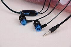 批发彩色布绳入耳式金属耳机