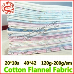 C100 20*10 40*42 150GSM 100% Cotton Printed Flannel Fabric For Baby