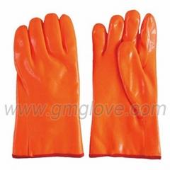 Orange Fluorescent PVC Chemical Resistance Gloves