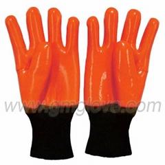 Orange Fluorescent PVC Safety Gloves,Knited Wrist Cold Weather
