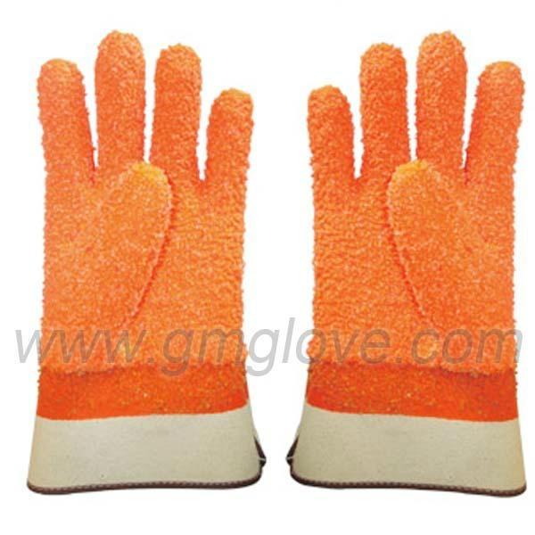 Orange Fluorescent PVC Dipped Gloves,Safety Cuff 1
