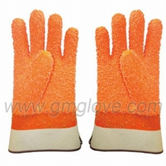 Orange Fluorescent PVC Dipped Gloves,Safety Cuff