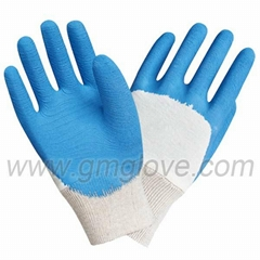 Blue Latex Dipped Safety Gloves Cotton Knitted Wrist