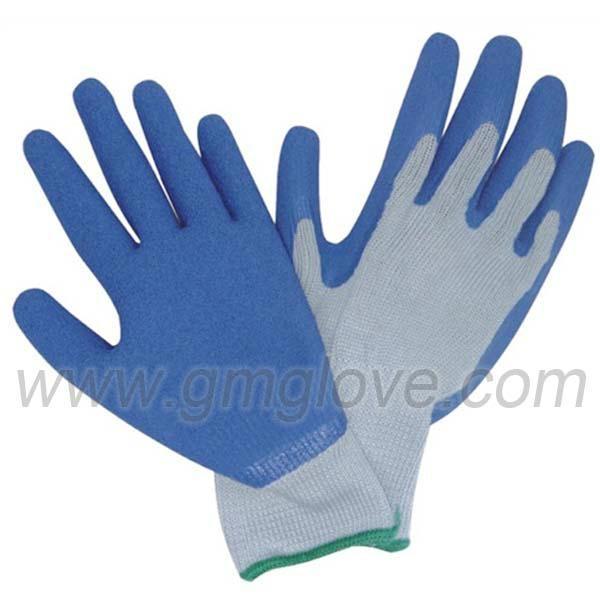 13G polyester  latex coated garden gloves  1