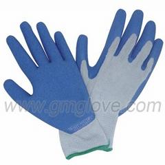 13G polyester  latex coated garden gloves
