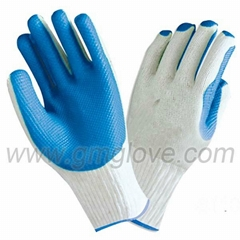 heavy duty blue rubber coated work gloves