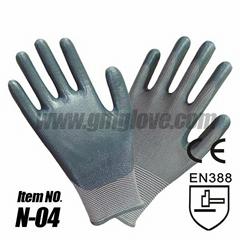 13 Gauge Nylon Nitrile Coated Gloves