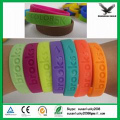 Logo printed silicone bracelet customized