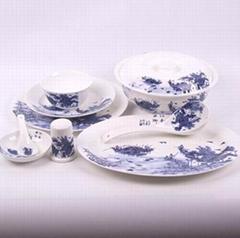 46頭碗碟勺餐具套裝江南水鄉
