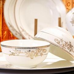 唐山46头花容月貌骨瓷餐具碗碟勺套装