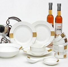 高档骨瓷餐具套装结婚礼品幸福相守碗碟勺唐山陶瓷厂家直销