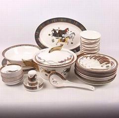 唐山高檔骨瓷餐具47頭愛馬仕