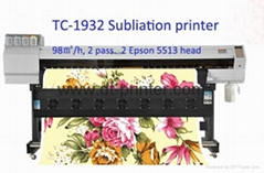 Wide format printer using sublimation ink