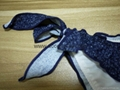Hot Selling Ladies Bikini Denim Effect Fabric with Lace Decoration and Bows Swee 5
