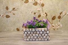 Retro imitation cork cement flowerpot