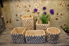 Retro imitation cork cement flowerpot