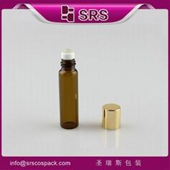 SRS promotion no leakage amber 5ml glass mini roller bottles for olive oil