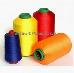 Polyester embroidery thread dyed on cone