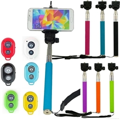 2015 hot sale monopod selfie stick Telescopic with bluetooth wireless remote mob