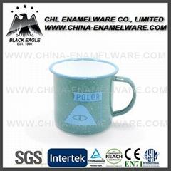1.Rolled rim custom enamel mug for promotion
