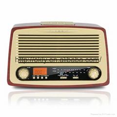Home  Retro AM/FM wooden radio with  Alarm clock