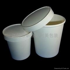 纸汤杯带纸盖