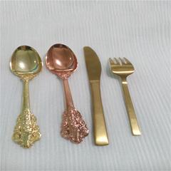 五金電鍍環保金色餐具加工