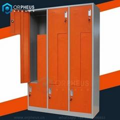 OR-CZA002 Z Shape Gym Clothes Cabinet Color Gymnasium Steel Locker Wardrobe