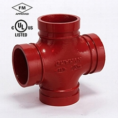 ductile iron grooved Pipe fitting  Reducer Cross Thread Outlet