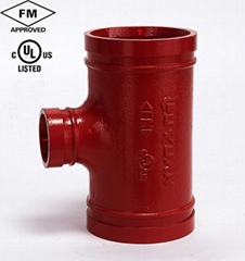 Ductile Iron Grooved Reducing Tee with FM/UL Approved