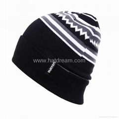 wholesale jacquard customized quick delivery autumn winter acrylic  beanie
