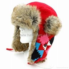 Earflap Russian Trooper Fur Ski Cap knitted winter warm hat bomber hat