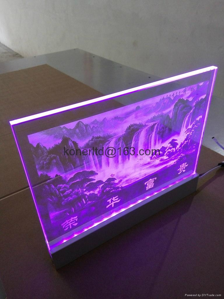 Glass or acrylic led edge lit sign with laser engraving for Glass or acrylic
