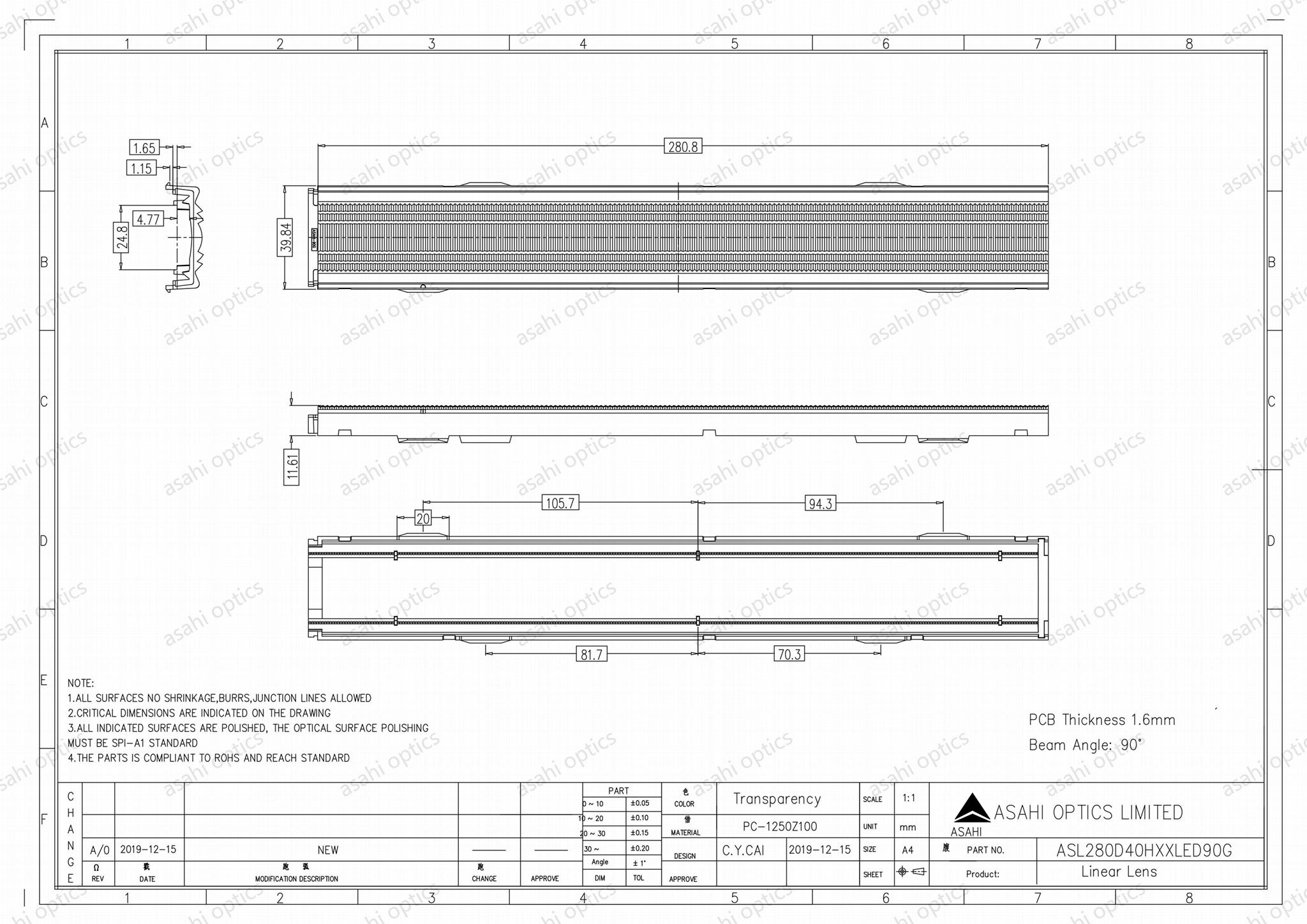 Linear lens 280mm ZHAGA standard adapts a snap-on type ASL280D40HXXLED90G 3