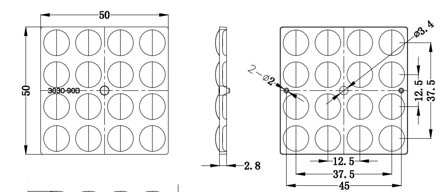 16LEDs optical lens for 3030LED beam 90 degree produce great optical performance 2