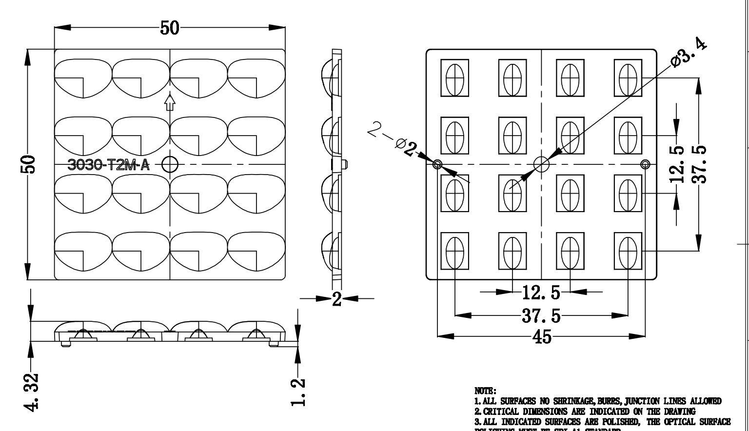 16 In 1 Square LED Lens For LED Lamp 16LED LENS ALST50D16LEDT2M-A 3