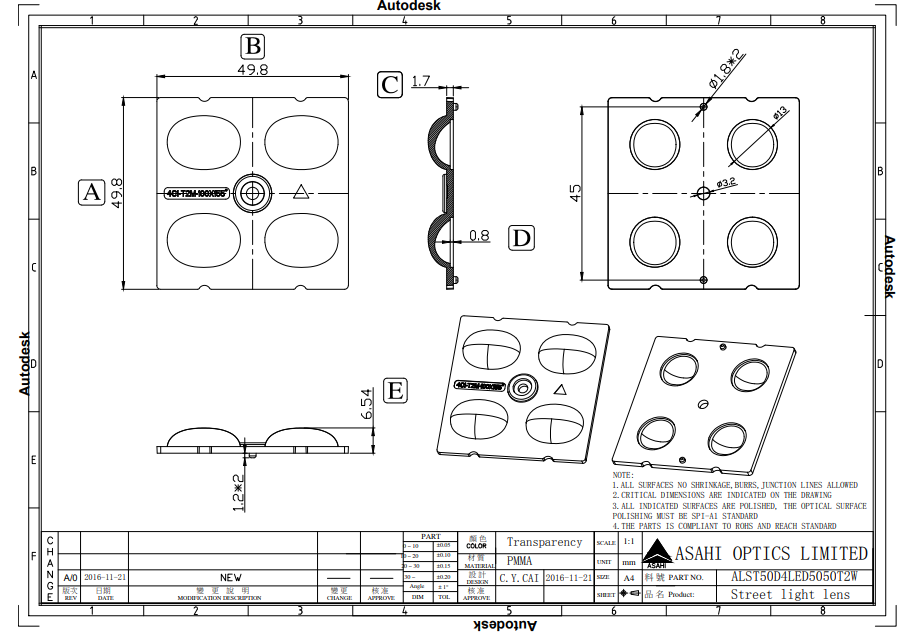 Free sample offer led optical lens PC for 5050 LED ALST50D4LED5050T2W  3