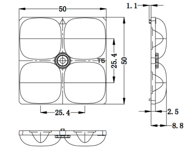 Optical Lens Manufacturer Optical PC lens T5 TYPEV LED Lens ALST50D4LEDT5R 3
