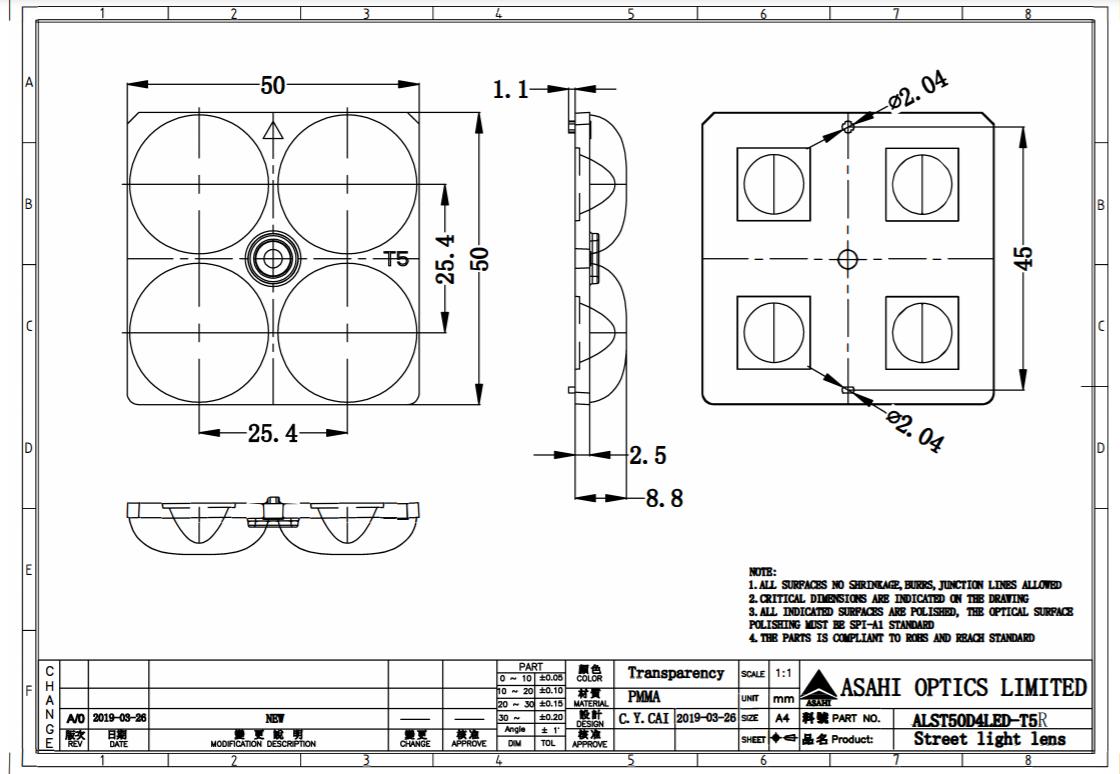 Optical lens 2x2 lens TYPEV compatible with 3535LED 5050LED ALST50D4LEDT5R  3