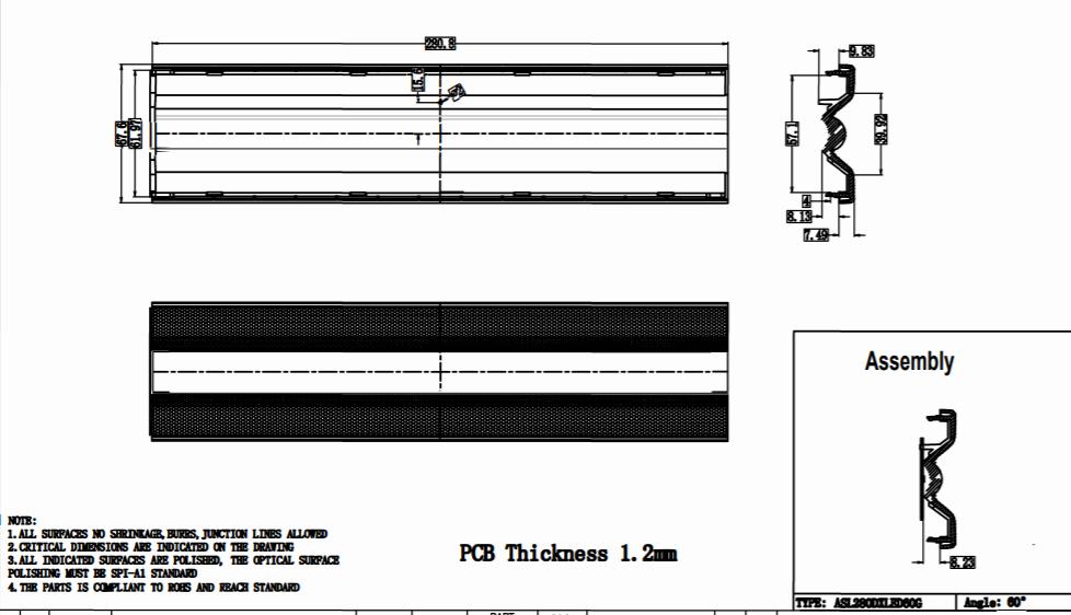 Quality-linear-lens 280mm ZHAGA standard 60 degree ASL280D65HXLED60G 2