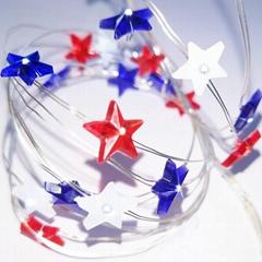 Independence Day Decor LED String Lights USA American Stars Flag Lighting String