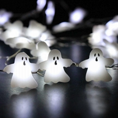 White Ghost 10ft 40 LED Hanging Halloween Decor Lights