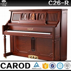red walnut acoustic wooden piano size with chair cover and chair