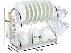 鐵線雙層廚房置物架碗碟瀝水架