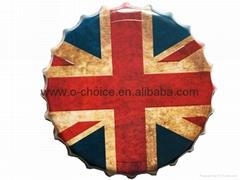 Hot Sale Custom Metal Signs For National Flag Design Beer Bottle Cap