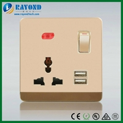 Golden Switched Multi-Standard Power Outlet with 5V/2100mA USB Charging Adapter