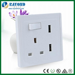 Single Gang British Standard Switched Power Outlet with 2.4A USB Charging Ports