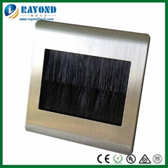 Brushed Stainless Steel AV Cable Entry Brush Wall Plate