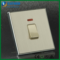 Brushed Chrome Golden Insert 20Amp Double Pole Water Heater Wall Switch