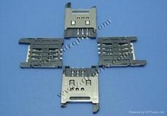 POS机车载产品SIM 6P 2.54间距掀盖24.6*17.6*1.8H带铁壳卡座